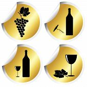 Wine Icons On Golden Round Stickers With Curved Corner