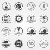 Vector set of 3d printing emblems or logos