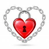 Red Heart Lock and Chains