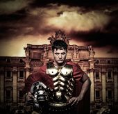 stock photo of legion  - Roman legionary soldier in front of Trevi fountain - JPG