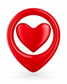 Isolated heart on white background. 3D image