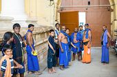 Madurai, India - February 16: An Unidentified Men Are Standing At The Entrance Ancient Tirumalai Nay