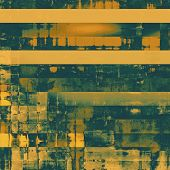 Abstract grunge background with retro design elements and different color patterns: green; brown; yellow (beige)