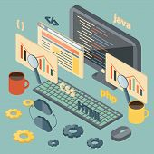 Isometric illustration on programming theme