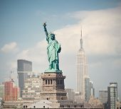 New York City USA skyline panorama with statue of liberty