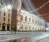 Square Of Vicenza, Piazza Dei Signori, With Illuminations And Snow
