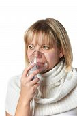 Sick Cough Woman Using Inhaler Mask Isolated