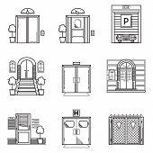 Black contour vector icons for door