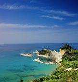 A panorama of Cape Drastis with nearby islands on Corfu island