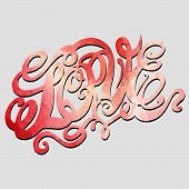 Heart symbol of love and Valentines day lettering