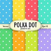 Постер, плакат: Set of multicolour polka dot seamless patterns