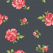 Vector classic vintage inspired seamless floral pattern wallpaper with colorful roses