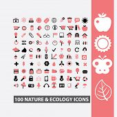 100 nature, ecology icons, signs, symbols, illustrations set on background, vector