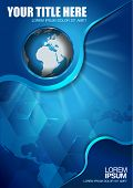 picture of continent  - Abstract vector blue background with continents and globe for brochure  - JPG