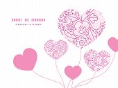 Vector pink flowers lineart heart symbol frame pattern invitation greeting card template