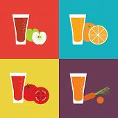 Juice fruit glass flat icon. Fresh juice for healthy life. Vector illustration