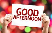 Good Afternoon card with colorful background with defocused lights