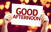 Good Afternoon card with heart bokeh background