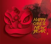 Chinese new year lion dance. Translation of Chinese Calligraphy: Get Lucky Coming Year. Translation of Stamps: Good Luck