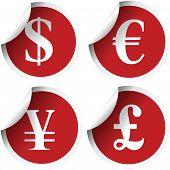Red Labels With International Currency Symbols
