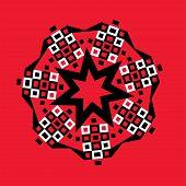 Starburst Geometric Medallion On Red