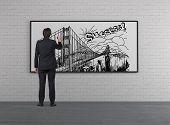 Businessman Drawing Bridge