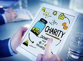 Working Tablet Support Give Help Donate Charity Concept