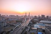Traffic  and skyline near  city bridge at daytime,hangzhou.