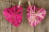 Wool hearts on clothesline