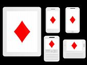 Mobile Devices With Poker Diamonds White