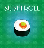 Food Menu Sushi Roll With Green & Blue Background