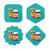 Pet Drug Flat Icon With Long Shadow,eps10