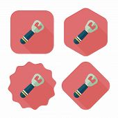 Kitchenware Tin Opener Flat Icon With Long Shadow,eps10