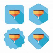 Kitchenware Funnel Flat Icon With Long Shadow