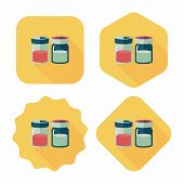 Kitchenware Sauce Bottle Flat Icon With Long Shadow,eps10