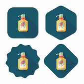 Kitchenware Dish Soap Flat Icon With Long Shadow