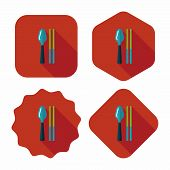 Tableware Flat Icon With Long Shadow,eps10
