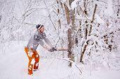 Lumberjack chopping wood