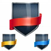 Set of Bright shield in the fencing helmet inside with ribbons. Vector.