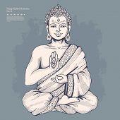 image of aura  - Vintage vector illustration with Buddha in meditation - JPG
