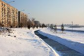 Embankment in winter.