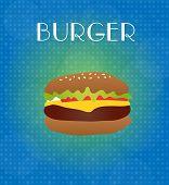 Food Menu Burger With Blue & Golden Background