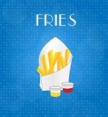 Food Menu Fries With Blue Background
