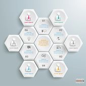 foto of honeycomb  - Infographic with honeycomb structure on the gray background - JPG