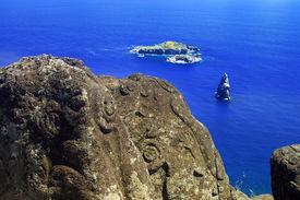 stock photo of mauri  - Bird Man Island and Polynesian carvings at Rapa Nui - JPG