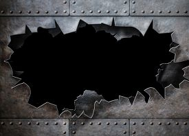 image of steam  - hole in metal armor steam punk background - JPG