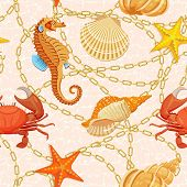 foto of creatures  - Vector seamless pattern with fishes - JPG