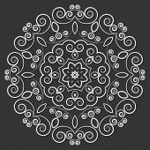 stock photo of curves  - Round white ornate pattern with curved elements on black background - JPG