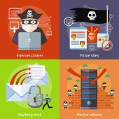 Постер, плакат: Hacker attaks Internet Pirates and Pirate Sites