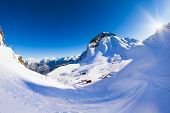 stock photo of caucus  - Krasnaya polyana beautiful winter landscape of Caucasus mountains during daytime in Sochi ski resort - JPG